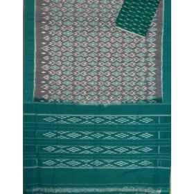 Grey & Rama Green Ikat mercerised cotton saree-CS121