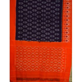 Purple & Orange Ikat mercerised cotton saree-CS126