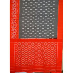 Grey & Orange Ikat mercerised cotton saree-CS127