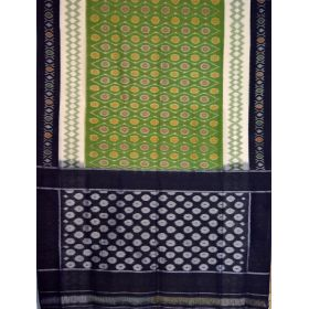 OLive & Navy blue Ikat mercerised cotton saree-CS128