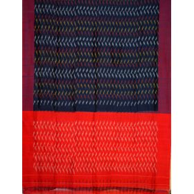 Navy blue & maroon Ikat mercerised cotton saree-CS129