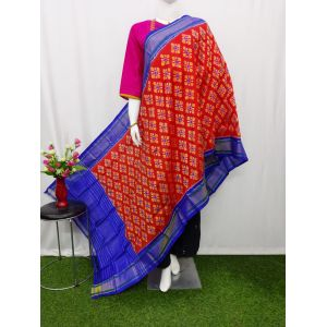 Brick Red & Blue Ikat silk dupatta - ASD430
