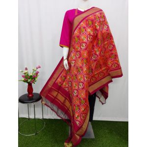 Orange & Magenta Ikat silk dupatta - ASD456