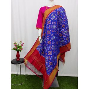 Blue & Red Ikat silk dupatta - ASD458