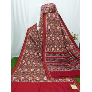 Maroon double Ikat spunsilk saree-S0012