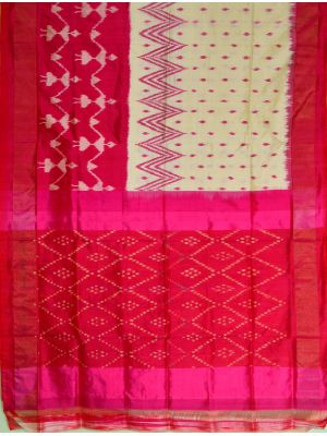 Half white(Tusser) & Pink Ikat Light Weight silk saree-VS0145