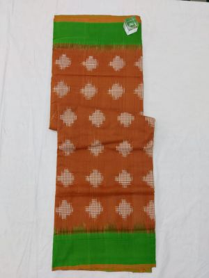 Brown & Green Double Ikat mercerised cotton saree-ASKCS120