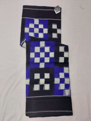 Blue & Black Double Ikat mercerised cotton saree-ASKCS130