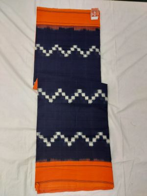 Navy blue & Mustard Double Ikat mercerised cotton saree-ASKCS139