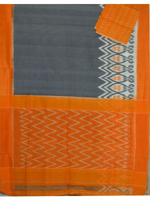 Grey & Mustard Ikat mercerised cotton saree-CS114