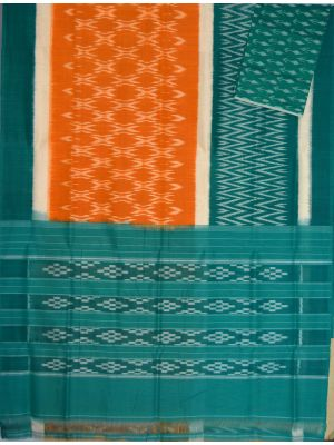 Mustard & Sea green Ikat mercerised cotton saree-CS119
