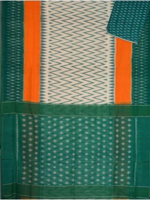 White & Rama green Ikat mercerised cotton saree-CS123