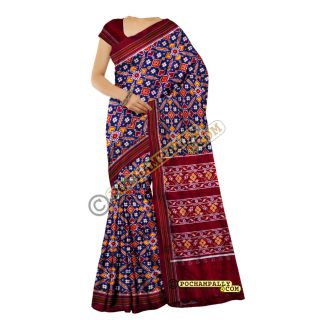 Navy blue & Maroon double Ikat spunsilk saree-S0019