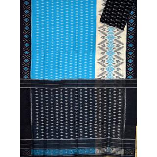 Sky blue & Black Ikat mercerised cotton saree-CS118