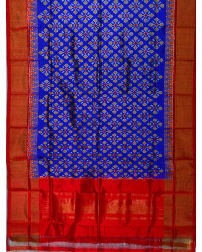 Blue & red Ikat silk dupatta/chunni-SD198
