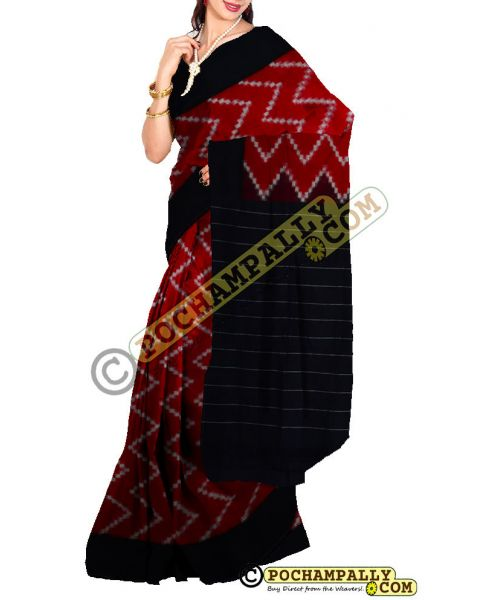 Maroon & Black Ikat mercerised cotton saree-CS010