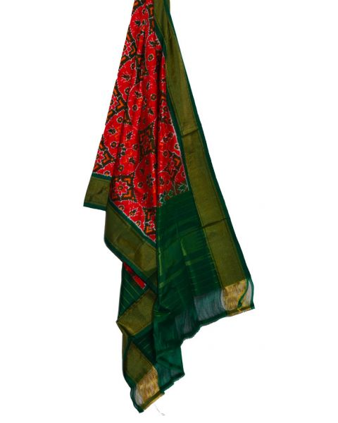 Orange red & green Ikat silk dupatta/chunni-SD202