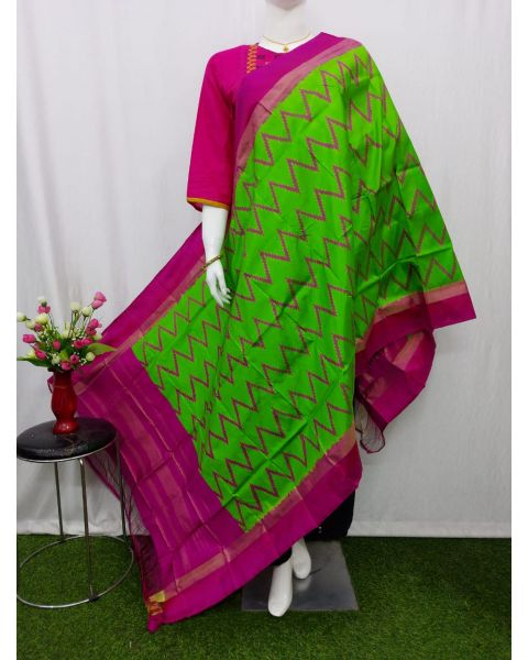Light Green & Pink Ikat silk dupatta - ASD428