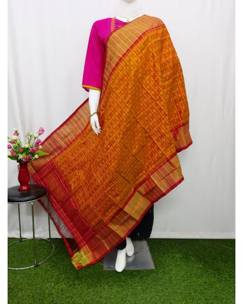 Rust brown & Maroon Ikat silk dupatta - ASD447