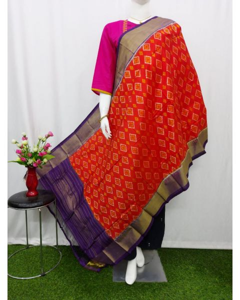 Orange Red & Violet Ikat silk dupatta/chunni-SD209