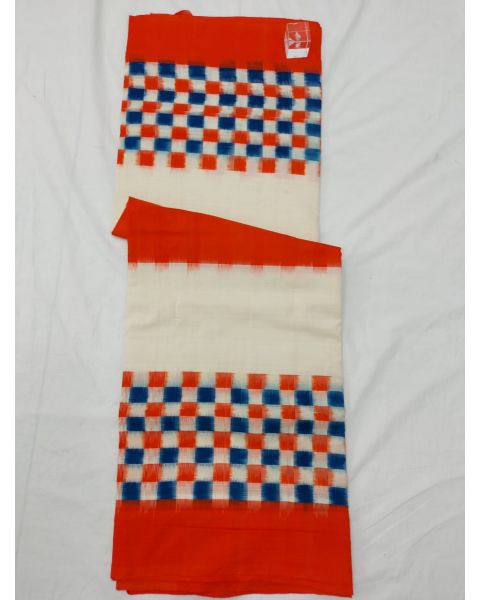 White & Orange Double Ikat mercerised cotton saree-ASKCS107