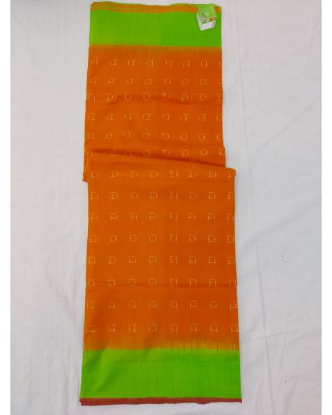Orange & Parrot green Double Ikat mercerised cotton saree-ASKCS132