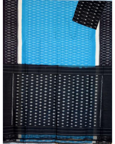 Sky blue & Black Ikat mercerised cotton saree-CS105