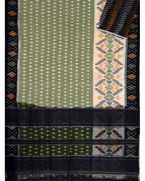 Sage green & Black Ikat mercerised cotton saree-CS117