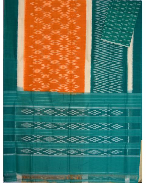 Mustard & Sea green Ikat mercerised cotton saree-CS119